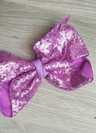 Болтшой блестящий бант заколка сиреневый в пайетках бантик фиолетовый лиловый пайетки