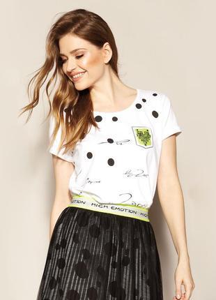 Блузка с коротким рукавом трикотажная весенняя летняя zaps doris 005 белая в горошек