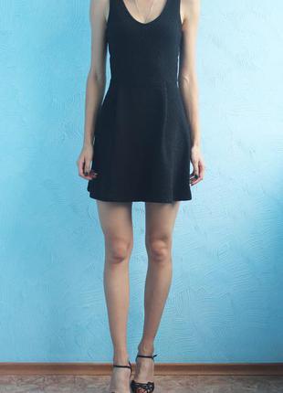 Черное супер платье плотный трикотаж