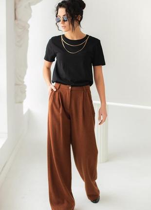 Теплые брюки с высокой талией