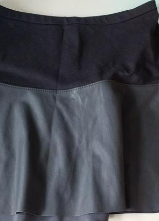 Юбка-клеш комбинированная с эко-кожей express design studio xs-s