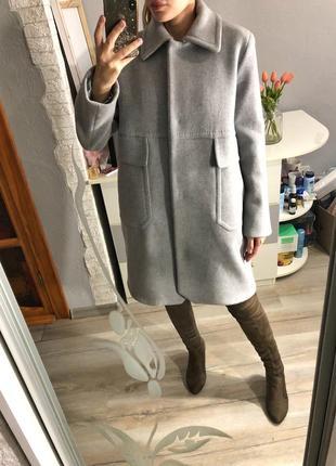 Роскошное шерстяное брендовое серое пальто marella