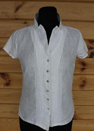Белая блузка рубашка лен