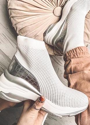 Высокие кроссовки носки с серебром
