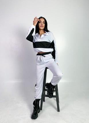 Прогулочный трикотажный костюм   черный, белый, розовый, бирюза   чёрный. штаны. кофта