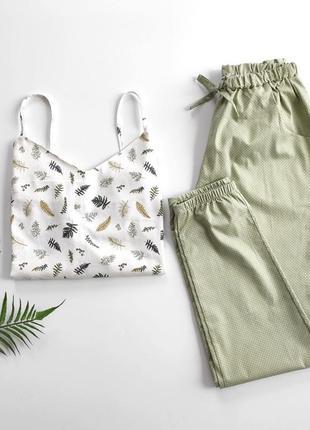 Весенняя пижама со штанами внизу на резинке