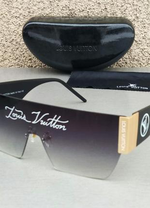 Louis vuitton очки маска женские солнцезащитные черные с логотипом бренда на линзах