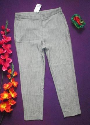 Шикарные стильные плотные трендовые брюки принт ёлочка h&m