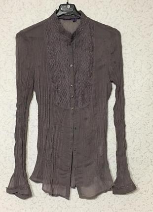Нежная красивая блузка  жатая шифоновая с кружевом размер 40