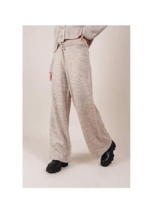 Вязаные брюки штаны шерстяные спортивные свободного фасона romashka, бежевый,