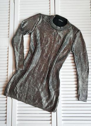 Свитер - платье, черный металлик, шерть/акрил