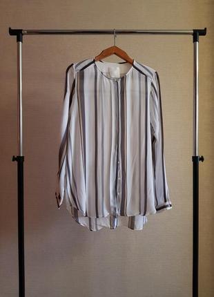 Шифоновая блуза в полоску со скрытыми пуговицами