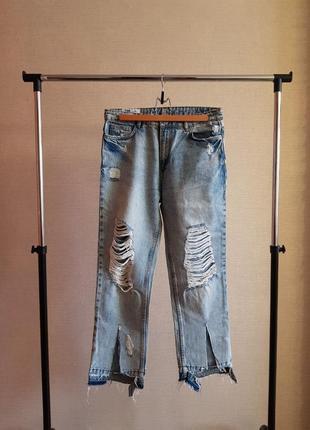 Летние резанные брюки из светлого джинса