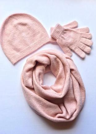 Набор шапка рукавицы шарф