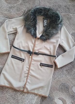 Кардиган кофта куртка з хутряним коміром