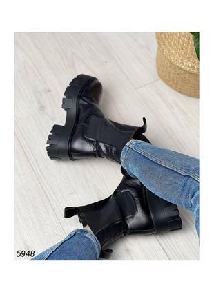 Ботинки ботиночки боты челси чёрные на высокой тракторной подошве натуральная кожа