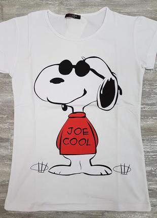 Футболка легкая летняя белая котоновая с забавной собакой на принте