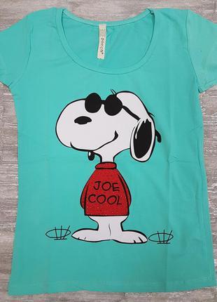 Футболка легкая летняя бирюзовая котоновая с забавной собакой на принте