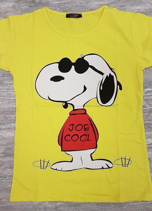 Футболка легкая летняя желтая х/б с забавной собакой на принте