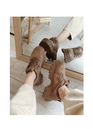 Кроссовки на меху с массивной подошвой, песочные кеды ботинки зимние
