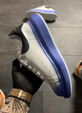 Белые синие чёрные женские кроссовки кеды (alexander mcqueen white blue black)3 фото