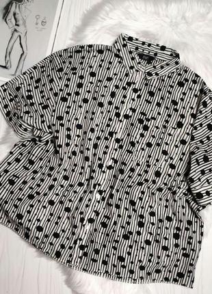 Актуальная блуза в горох и полоску черно белая оверсайз