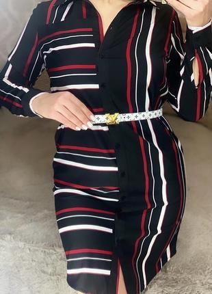 Шелковое платье рубашка в полоску