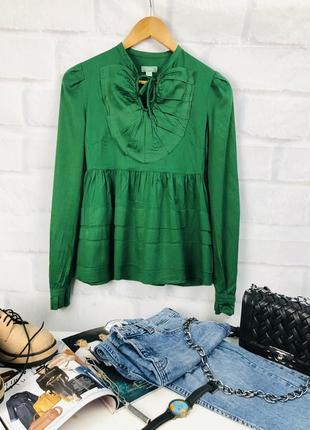 Рубашка - блуза  зелёная с кокеткой  на груди 100% хлопок