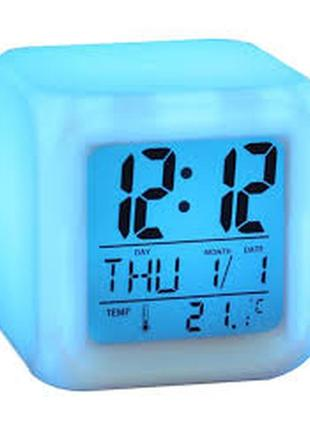 Led годинник хамелеон з термометром cx 508