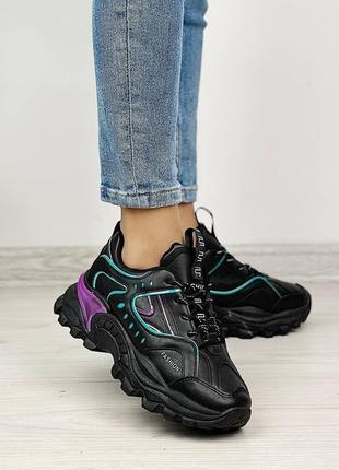 Кроссовки женские чёрные фиолетовые сиреневые бирюзовые женские на шнуровке2 фото