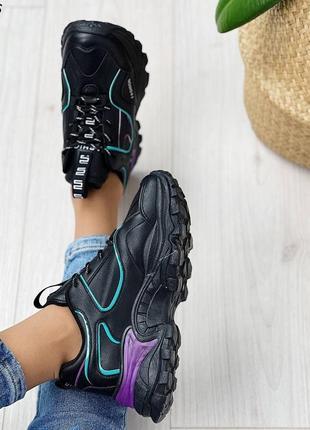 Кроссовки женские чёрные фиолетовые сиреневые бирюзовые женские на шнуровке4 фото