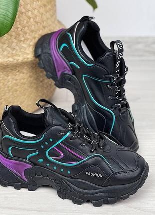 Кроссовки женские чёрные фиолетовые сиреневые бирюзовые женские на шнуровке