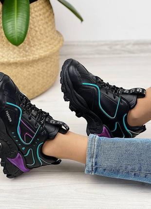 Кроссовки женские чёрные фиолетовые сиреневые бирюзовые женские на шнуровке3 фото