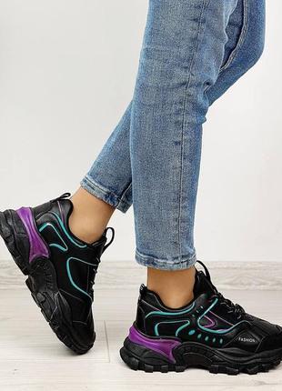 Кроссовки женские чёрные фиолетовые сиреневые бирюзовые женские на шнуровке5 фото