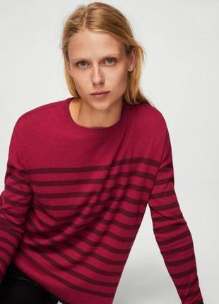 Оригинальный свитер в полоску  mango