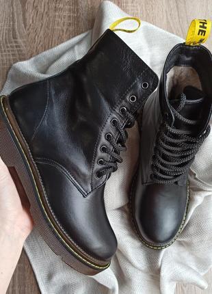Кожаные боты, ботинки на шнуровке