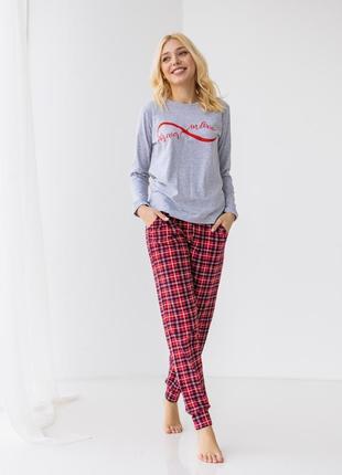 Женская пижама со штанами в клетку - forever in love