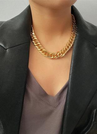 Распродажа! крутая массивная цепь, колье, ожерелье, цвет золото