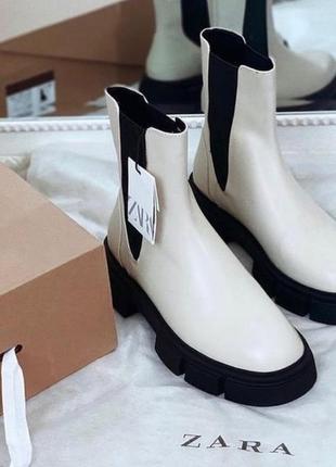 Трэндовые ботинки ботильоны челси zara-оригинал! натуральная бычья кожа