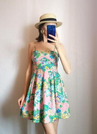 Натуральный летний сарафан короткое платье хлопок тропики