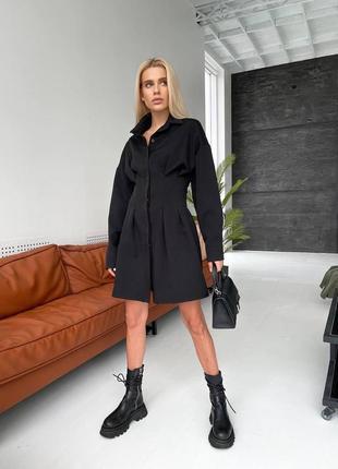 Платье рубашка короткое чёрное с объёмными рукавами стильное модное