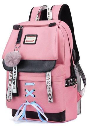 Качественный школьный рюкзак для девочки розовый с usb-портом