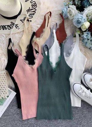 Базовая майка футболка с кружевом белая, черная, бежевая, пудра, серая, коричневая