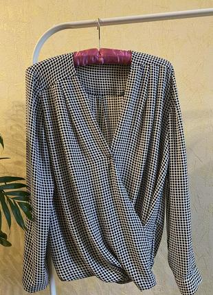 Блуза на запах в мелкий горох zara mango h&m