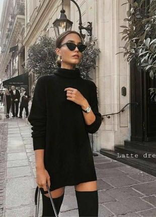 Чёрное платье трикотаж -ангора ❤️