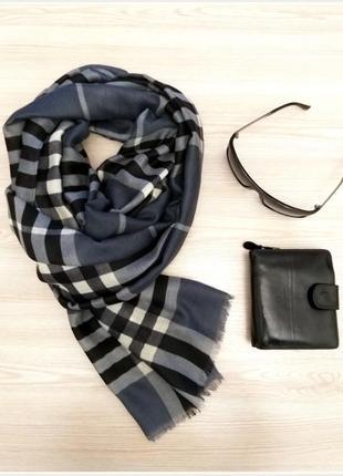 Демисезонный шарф «клетка тартан» серый