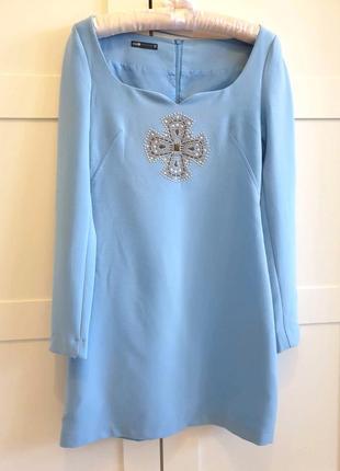 Нарядное женское платье небесно- голубого цвета, oodji