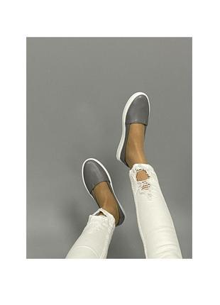 Ботинки кеды мокасины лоферы серые эспадрильи натуральная кожа