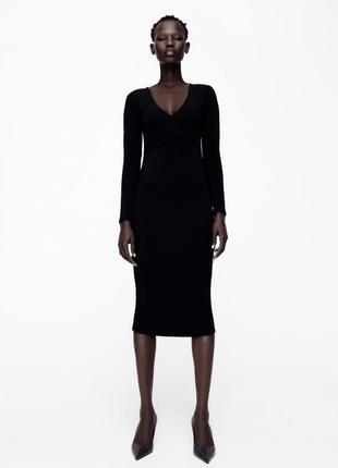 В обтяжку платье zara платье миди в рубчик платье черное в обтяжку
