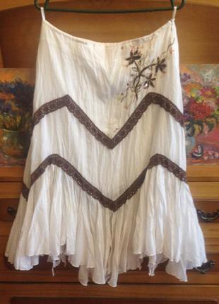 Белая юбка этно бохо favori